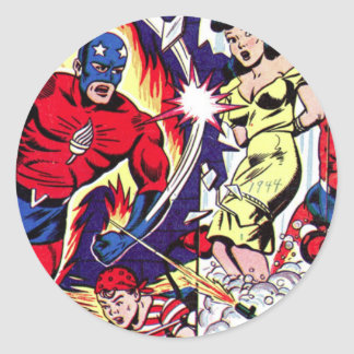 Torch Man and Torch Boy Classic Round Sticker