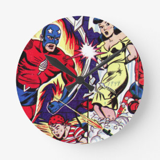 Torch Man and Torch Boy Round Clock