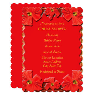 Torch Red Ribbons Bridal Shower Card