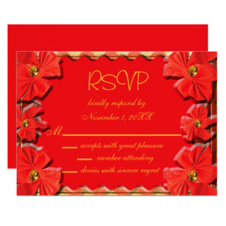 Torch Red Ribbons RSVP Card