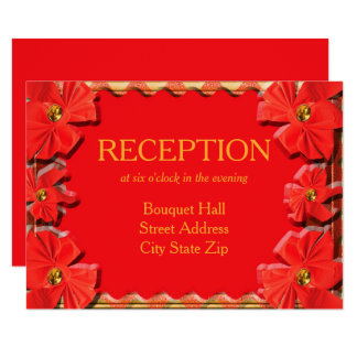 Torch Red Ribbons Wedding Reception Card