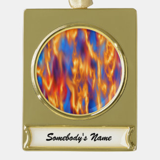 Torched Gold Plated Banner Ornament