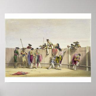 Toreros Reposing between the Bulls, 1865 (colour l Poster