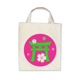 Torii (green & blue) tote bags
