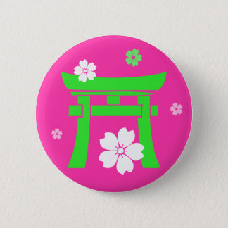 Torii (green & orange) 6 cm round badge