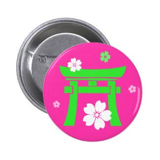 Torii (green & orange) 6 cm round badge