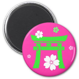 Torii (green & pink) refrigerator magnet