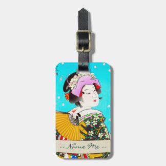 Torii Kiyomitsu Moon Flower Japanese Lady portrait Luggage Tag