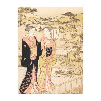 Torii Kiyonaga  Two Women in a Garden japanese art Canvas Print