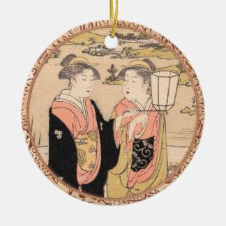 Torii Kiyonaga  Two Women in a Garden japanese art Double-Sided Ceramic Round Christmas Ornament