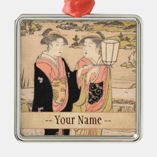 Torii Kiyonaga  Two Women in a Garden japanese art Silver-Colored Square Decoration