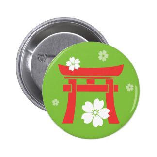 Torii orange green pinback buttons