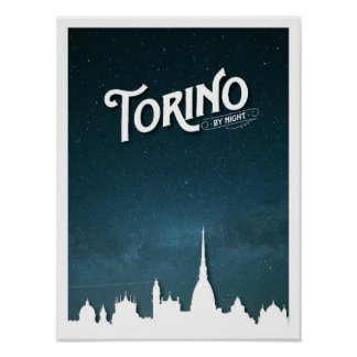 Torino by night skyline - Poster