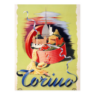 Torino Turin Italy Vintage Travel Poster Restored Postcard