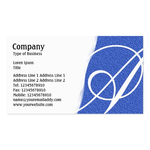 Torn Away - Blue Embossed Texture Business Card Template