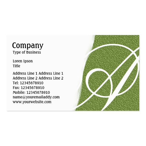 Torn Away - Green Embossed Texture Business Card Templates