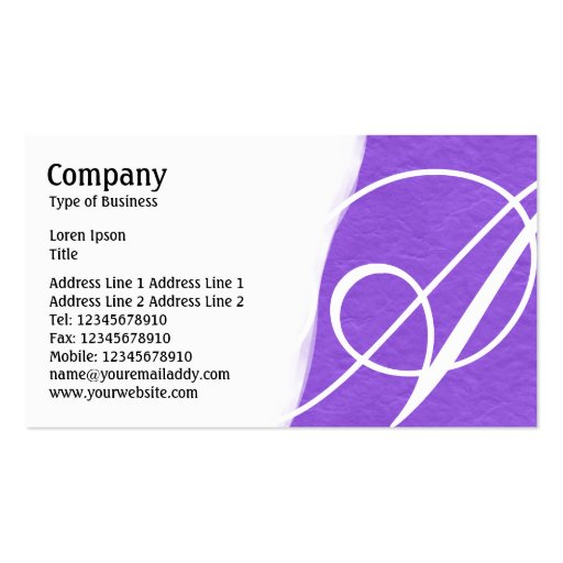 Torn Away - Violet Rough Paper Texture Business Card Template