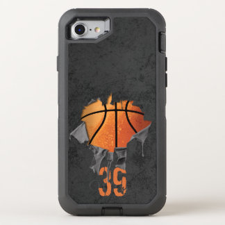Torn Basketball (personalised) OtterBox Defender iPhone 8/7 Case