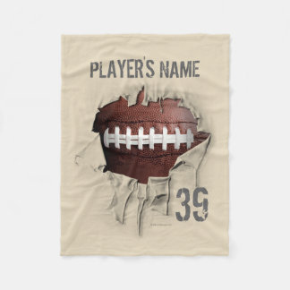 Torn Football Personalized White Fleece Blanket