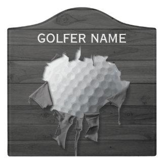 Torn Golf Ball Door Sign
