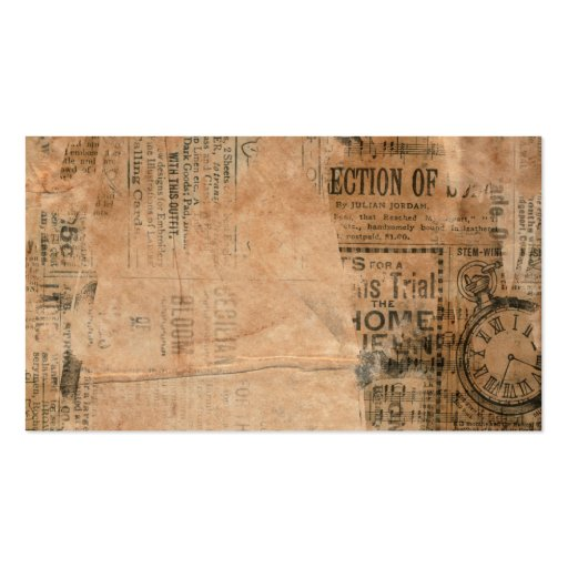 Torn Grungy Old Newspaper Background Business Card Templates