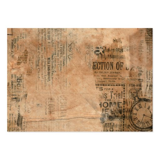 Torn Grungy Old Newspaper Background Business Cards