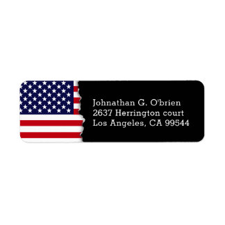 Torn Out American Flag Personalized Return Address Label