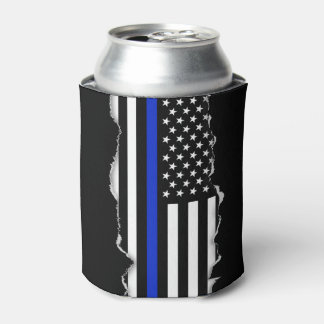 Torn Out Look Thin Blue Line American Flag Can Cooler