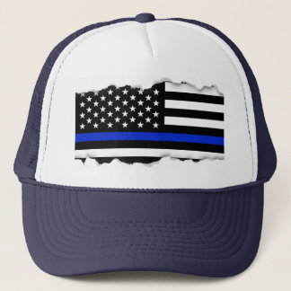 Torn Out Look Thin Blue Line American Flag Trucker Hat