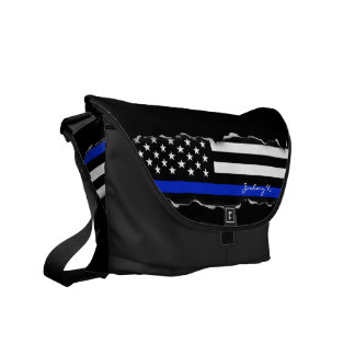 Torn Out Thin Blue Line American Flag Black Courier Bags