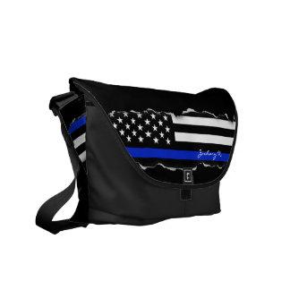 Torn Out Thin Blue Line American Flag Black Messenger Bag