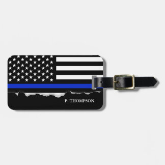 Torn Out Thin Blue Line American Flag Personalized Luggage Tag