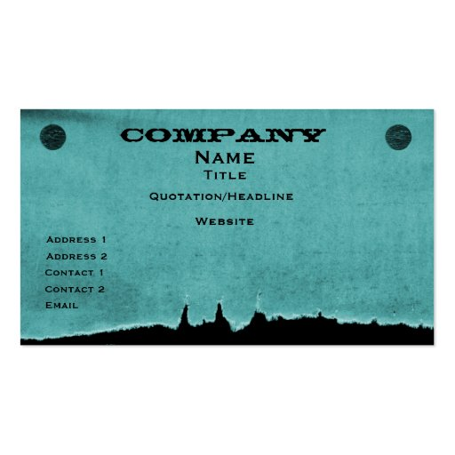 Torn Paper Business Card, Teal