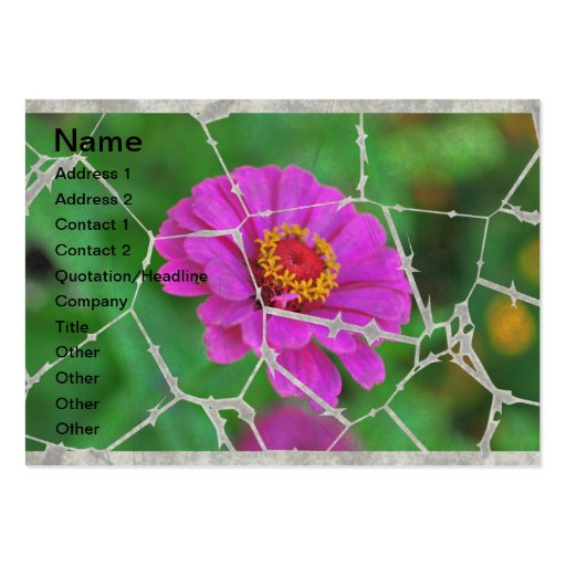 Torn pink flower business cards