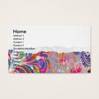 torn reto colorful abstract floral bliss business card