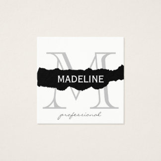 Torn with Classic Monogram Square Business Card