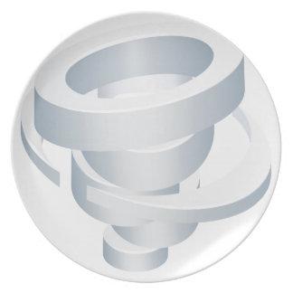 Tornado Cyclone Hurricane Twister 3d Icon Dinner Plates