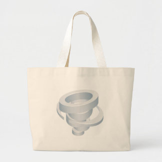 Tornado Cyclone Hurricane Twister 3d Icon Large Tote Bag