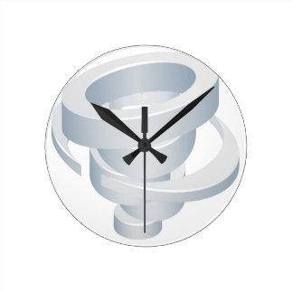 Tornado Cyclone Hurricane Twister 3d Icon Round Clock
