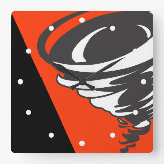 Tornado in Red Black and White Square Wall Clock
