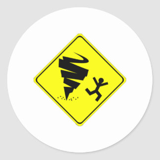 Tornado Warning Sign Classic Round Sticker