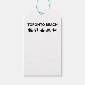 Toronto Beach Icons Monotone Black Gift Tags