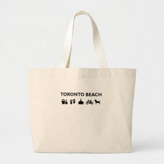 Toronto Beach Icons Monotone Black Large Tote Bag
