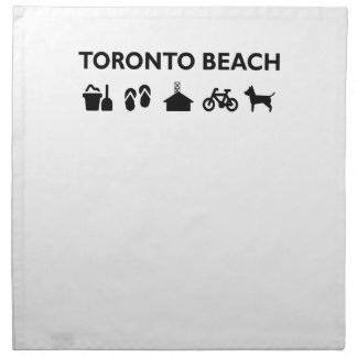 Toronto Beach Icons Monotone Black Napkin