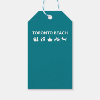 Toronto Beach Icons Monotone Dark Gift Tags