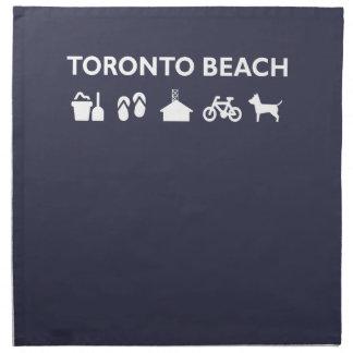 Toronto Beach Icons Monotone Dark Napkin