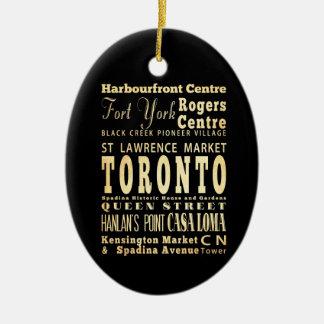 Toronto City of Canada Typography Art Ceramic Ornament