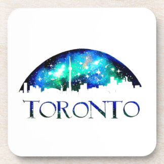 Toronto city skyline at night beverage coaster
