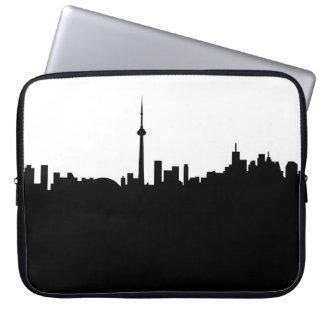 toronto cityscape canada city symbol black silhoue laptop sleeve