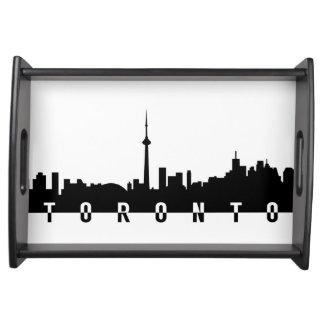 toronto cityscape canada city symbol black silhoue serving tray